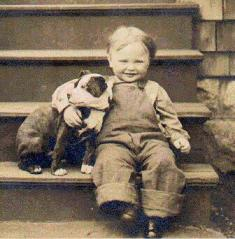 pitbull sitting with little boy vintage photo